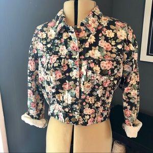 Vintage Paris Blues floral cropped denim jacket